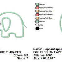 Zoo Baby Elephant Applique Machine Embroidery Design - Embroidery Designs By AVI