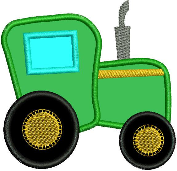 Applique Farm Tractor Machine Embroidery Design - Embroidery Designs By AVI