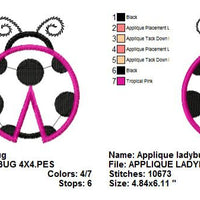 Applique Ladybug Lady Bug Machine Embroidery Design - Embroidery Designs By AVI