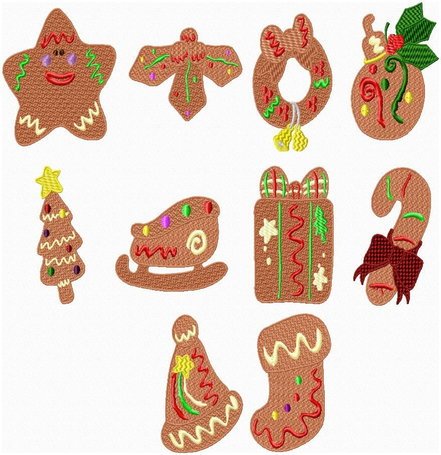 Christmas Cookies Present Candy Cane Sled Tree Machine Embroidery Design Set - Embroidery Designs By AVI