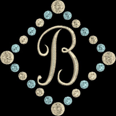 Diamond Polka Dot Script 1 One Single Letter Machine Embroidery Monogram Fonts Set - Embroidery Designs By AVI