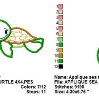 Sea Turtle Applique Machine Embroidery Design - Embroidery Designs By AVI