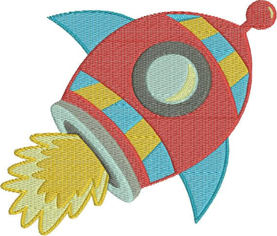 Rocket Ship Outer Space Machine Embroidery Design - Embroidery Designs By AVI