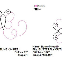 Butterfly Outline Lines Silhouette Machine Embroidery Design - Embroidery Designs By AVI