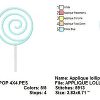 Applique Lollipop Candy Machine Embroidery Design - Embroidery Designs By AVI