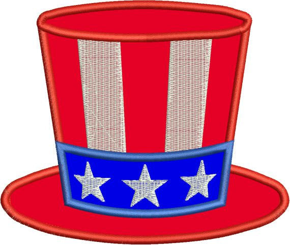 Applique Hat Fourth 4th of July Stars Stripes Machine Embroidery Design - Embroidery Designs By AVI