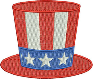 Hat Fourth 4th of July Stars Stripes Filled Machine Embroidery Design - Embroidery Designs By AVI
