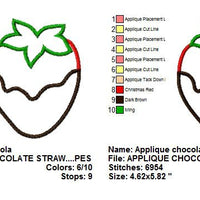 Chocolate Covered Strawberry Applique Machine Embroidery Design - Embroidery Designs By AVI