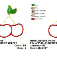 Applique Cherries Cherry Machine Embroidery Design - Embroidery Designs By AVI
