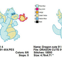 Cute Dragon Machine Embroidery Design - Embroidery Designs By AVI