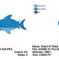 Cute Shark Machine Embroidery Design - Embroidery Designs By AVI