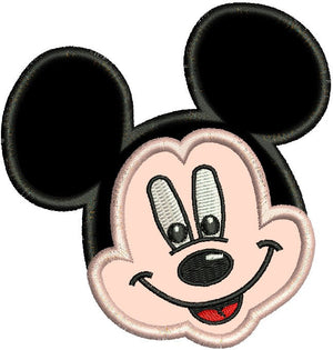 Applique Mickey Mouse Face Machine Embroidery Design - Embroidery Designs By AVI