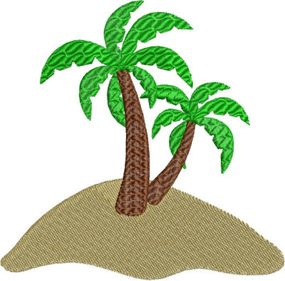 Palm Trees on Sand Beach with fill Machine Embroidery Design - Embroidery Designs By AVI