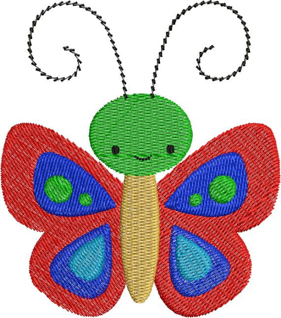 Cute Colorful Butterfly with fill Machine Embroidery Design - Embroidery Designs By AVI