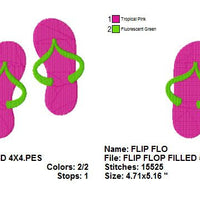 Flip Flops Sandals with fill Machine Embroidery Design - Embroidery Designs By AVI