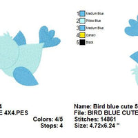 Cute Blue Bird Machine Embroidery Design - Embroidery Designs By AVI