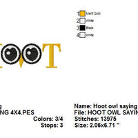 Owl Eyes Hoot Saying Machine Embroidery Design - Embroidery Designs By AVI