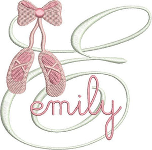 Ballet Slippers Shoes Monogram Fonts Machine Embroidery Design Set - Embroidery Designs By AVI