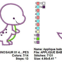 Dinosaur Baby Applique Machine Embroidery Design - Embroidery Designs By AVI
