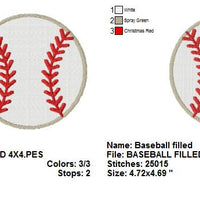 Baseball with fill Machine Embroidery Design - Embroidery Designs By AVI