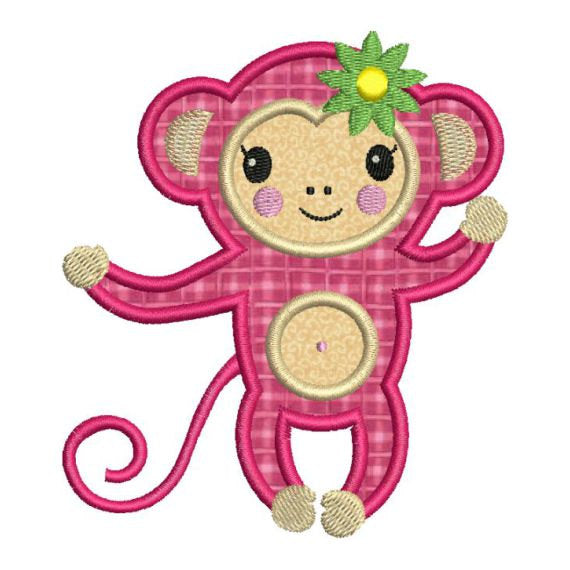 Monkey Girl Applique Machine Embroidery Design - Embroidery Designs By AVI