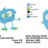 Silly Monster III Filled Machine Embroidery Design - Embroidery Designs By AVI