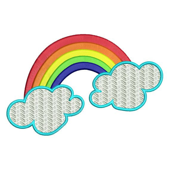 Rainbow and Clouds Machine Embroidery Design - Embroidery Designs By AVI