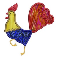Rooster Chicken Fancy Applique Machine Embroidery Design - Embroidery Designs By AVI