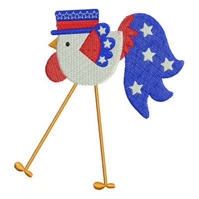 Patriotic Rooster July 4 th Machine Embroidery Design - Embroidery Designs By AVI