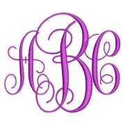 Intertwined Vine Fancy 3 Three Letter Machine Embroidery Monogram Fonts Designs Set - Embroidery Designs By AVI