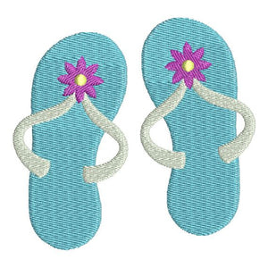 Flip Flops Sandals with flower Machine Embroidery Design - Embroidery Designs By AVI