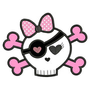 Girl Punk Rock Skull n Bones with Bow Applique Machine Embroidery Design - Embroidery Designs By AVI