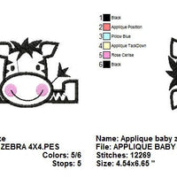 Zoo Baby Zebra Applique Machine Embroidery Design - Embroidery Designs By AVI