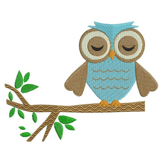 Owl sleeping on tree branch Machine Embroidery Design - Embroidery Designs By AVI