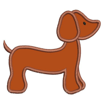 Applique Dachshund Dashound Doxie Dog Machine Embroidery Design - Embroidery Designs By AVI
