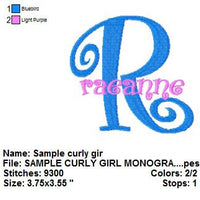 Boingo Curly Girl Machine Embroidery Monogram Fonts Design Set - Embroidery Designs By AVI