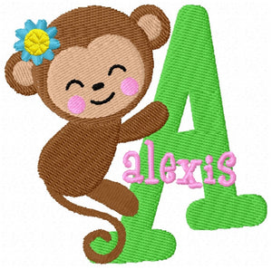 Monkey Girl Monogram Fonts Machine Embroidery Designs Set - Embroidery Designs By AVI