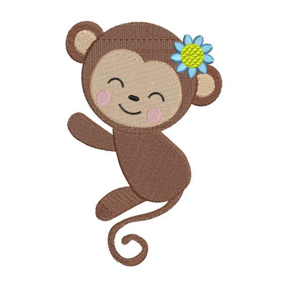 Cute Monkey Girl Zoo Jungle Machine Embroidery Design - Embroidery Designs By AVI