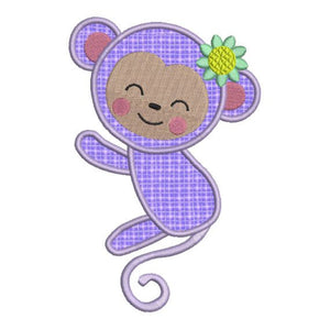 Applique Monkey Girl Zoo Jungle Machine Embroidery Design - Embroidery Designs By AVI