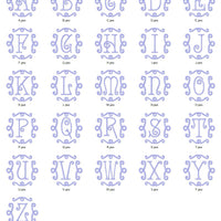 Curly Single 1 Inital Letter Monogram Fonts Machine Embroidery Designs Set - Embroidery Designs By AVI