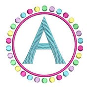 Circle of Dots Monogram Fonts Alphabet Machine Embroidery Design Set - Embroidery Designs By AVI