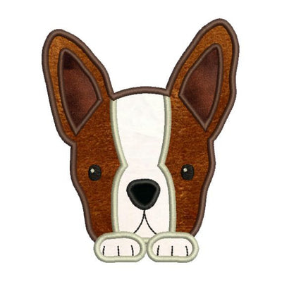 Applique Boston Terrier Puppy Dog Machine Embroidery Design - Embroidery Designs By AVI