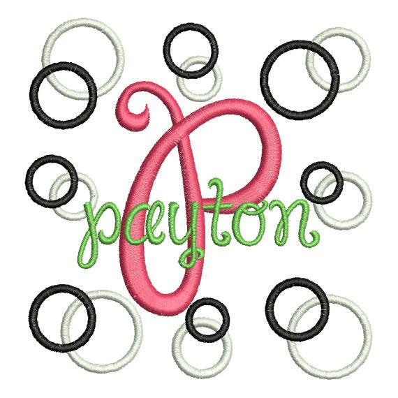 Curly Girl Circles and Rings Machine Embroidery Monogram Fonts Designs Set - Embroidery Designs By AVI