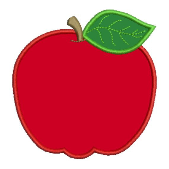 Applique Apple School Fall Teacher Machine Embroidery Design - Embroidery Designs By AVI