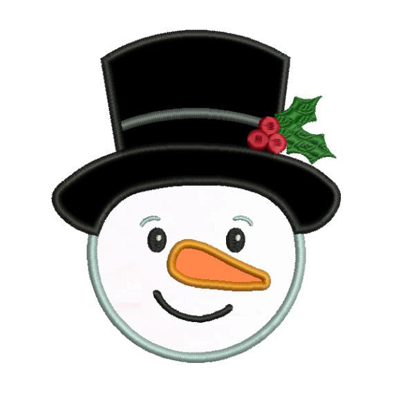 Frosty Snowman Snow Man Christmas Applique Machine Embroidery Design - Embroidery Designs By AVI
