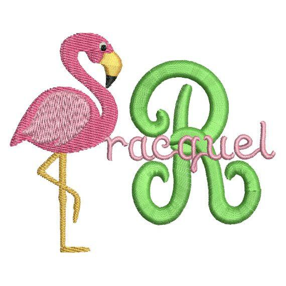 Flamingo Bird Monogram Fonts Machine Embroidery Designs Set - Embroidery Designs By AVI