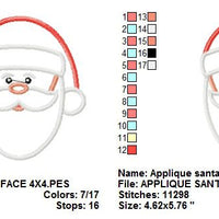 Santa Claus Face Christmas Applique Machine Embroidery Design - Embroidery Designs By AVI