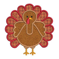 Thanksgiving Fall Turkey Applique II Machine Embroidery Design 1 Color - Embroidery Designs By AVI