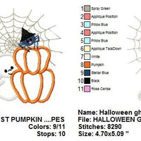 Applique Halloween Ghost Pumpkin Spider Web Machine Embroidery Design - Embroidery Designs By AVI