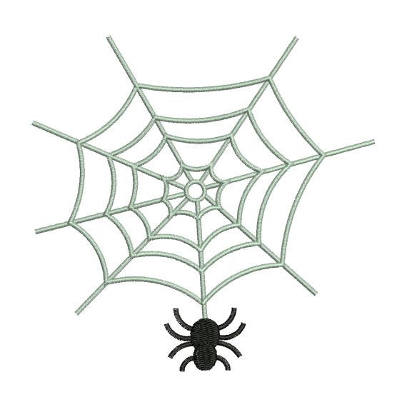 Spider on Web Halloween Machine Embroidery Design - Embroidery Designs By AVI